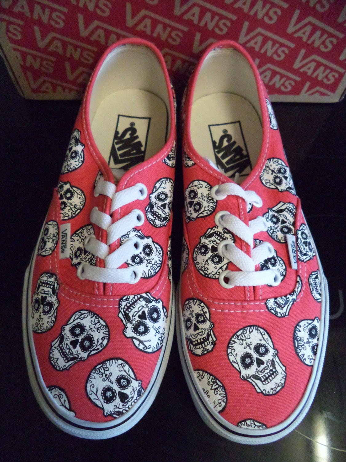 Hand Painted Disney Coco Candy Sugar Skull Authentic Vans Red