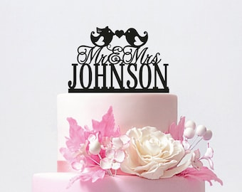 Love Birds Wedding Cake Topper, Personalized Wedding Cake Topper With Your Last Name,Mr and Mrs,Custom wedding cake topper / ST011