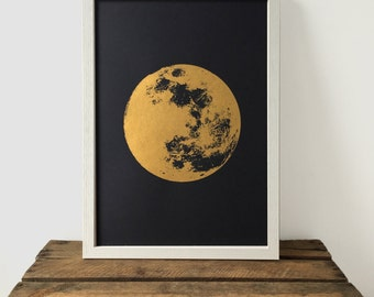moon print gold print realistic moon boho bohemian a3 art print print screenprint gift idea print