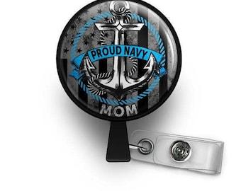 Proud Navy Mom Retractable ID Badge Reel