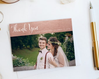 Wedding Thank You Card, Custom Photo Wedding Thank You Cards Rose Gold Foil Wedding Thank You Cards Vintage Gold Foil Wedding Cards Sarah2