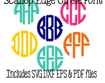 Scallop Edge Circle Monogram Font SVG PDF EPS instant download design for cricut or silhouette
