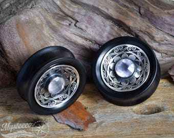 "Ear Plugs gauges 1 9/16"" 40mm wood gauges Free Shipping - Ebony Wood Silver and Rose Quartz Ear Plugs - 1 Pair - Double Flared - Handmade"