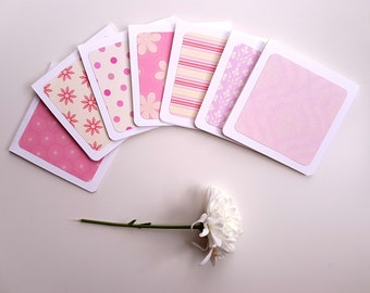 Set of 7 Pink Notecards Set // Mini Notecards //Blank Note Cards //Blank Cards //Notecards with Envelopes //Floral notecards //Pen pal notes