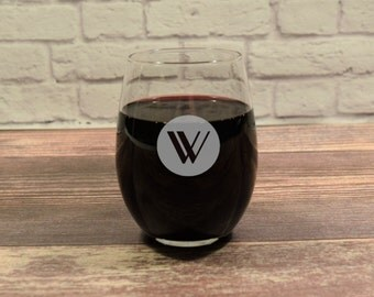 Custom Stemless Wine, Personalized Wine Glasses, Stemless Wine Glasses, Etched Wine glass, Stemless Wine Gift, Wedding Gift, Monogram Gift