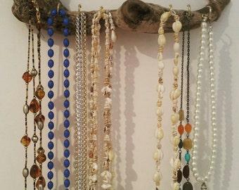 Driftwood Jewelry Display Wall Mounted Jewelry Organizer Necklace Storage Hanging Jewelry Holder bohemian decor