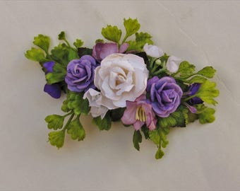 Purple and White Flower French Barrette - Flower Hair Clips, Floral Hair Clips, Flower Barrette,  Hair Clip Wedding, Flower Barrettes