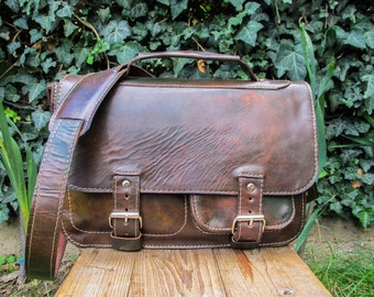 Hand Made Leather Satchel / Green Brown Leather Saddlebag / Leather Shoulder Bag / Handmade Leather Satchel Purse - SPECIAL PRICE