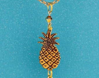 Cute Pineapple Interchangeable Lanyard Badge Holder Necklace