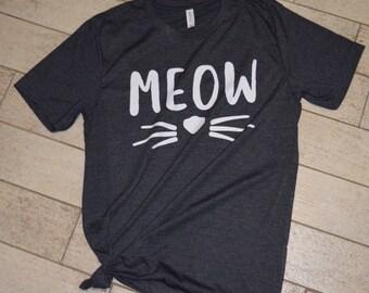Meow Dark Gray Shirt, Cat T-Shirt, Cat Lover Tee, Kitten Shirt