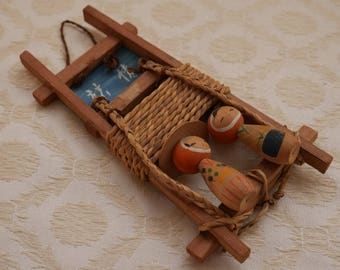 Kokeshi Dolls, Japanese Dolls, Dolls On Ladder, Wooden Dolls, Vintage Wood Doll, Hand Painted, Japanese Gift, Collectible Doll, Japan Gifts