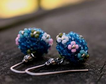 Blue earrings, flower earrings, dangle earrings, flower jewelry, floral earrings, romantic earrings, long earrings, beaded earrings, flowers