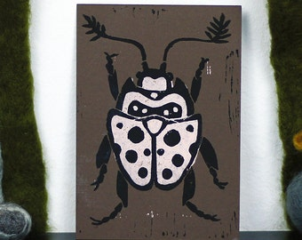 Beetle Linoprint Postcard