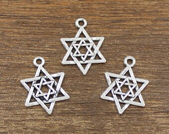 30pcs Star Charm Antique Silver Tone 15x21mm - SH321
