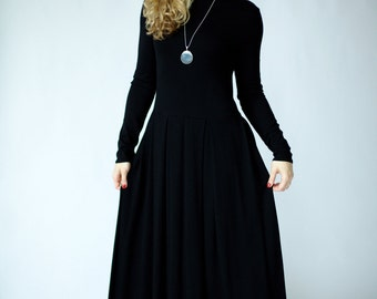 Maxi dress with sleeves, special occasion womens dresses, maxi black dress, maxi floor length black dress, long sleeve black dress spring