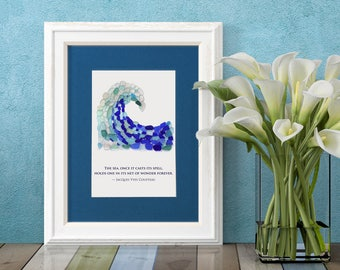 """Sea Glass Crashing Wave Matted Print - 8x10"""" mat with 5x7"""" Seaglass Mosaic Print of a Wave with a Quote by Jacques Cousteau"""
