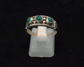 Vintage Sterling silver Navajo Turquoise trio hammered band, Navajo  Turquoise three stone ring,
