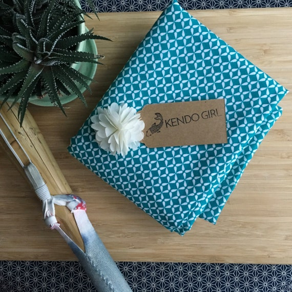 Furoshiki Gift Wrapping Cloth - Japanese Cotton Furoshiki - Tiny Butterfly Design in Turquoise Blue by Kendo Girl