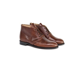 Man Handmade Ankle Boots in Brown Leather - Chocolate Brown Leather