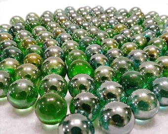 Opalescent Green Glass Marbles - Floral/Mosaic/Craft Marbles