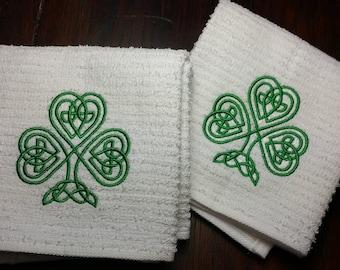 Celtic Knot Cafeu0027 Towels Celtic Shamrock Knot Kitchen Or Bath Towels 100%