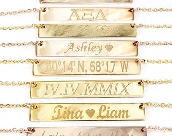 Roman Numeral Necklace, Gold Bar Necklace , Personalized Bar Necklace, Gold Necklace, Laser Engraved Necklace, Christmas Gift, Bar Necklace