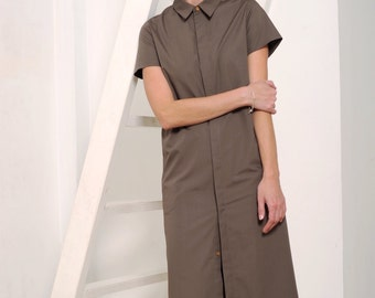 Women's shirt dress, brown dress, shirt dress, cotton dress, office dress, button down dress, open back dress