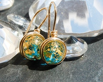 Murano Glass Gold Earrings, Gold Drop earrings, Wire Wrapped gold Earrings, Art glass gold earrings,Gold Dangle Earrings, Blue gold Glass