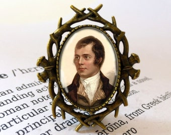 Robbie Burns Brooch - Burns Supper Jewellery, Burns Night Gift, Auld Lang Syne, Robert Burns Jewelry, Hogmanay Gift, Rabbie Burns Brooch