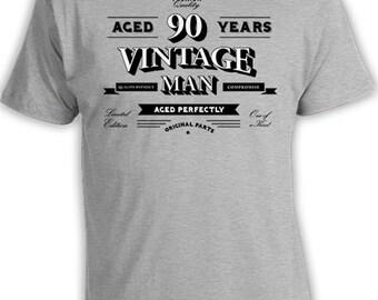 90th Birthday Shirt Grandpa Birthday Gift Personalized T Shirt For Him Custom Bday TShirt Aged 90 Years Old Vintage Man Mens Tee DAT-814