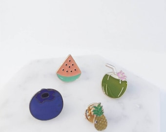 Assorted fruit pins; watermelon pin; blueberry pin; pineapple pin; coconut pin; fruit accessories