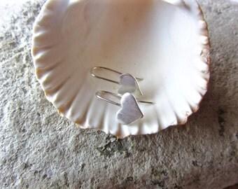 Heart Earrings / Dangly Heart Earrings / Argentium Silver Heart Earrings / Minimalist Studs /  Minimal Earrings / Sterling Silver Hearts