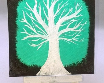 The Peaceful Tree - Small Art Painting with Desktop Easel, 4 x 4 inch