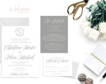 Printable Wedding Invitation Suite / Calligraphy / Wedding Invite Set -  The Christina Suite