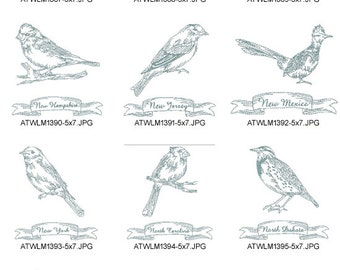 Redwork-State-Birds ( 10 Machine Embroidery Designs from ATW )