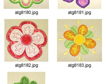 Simple-Applique-Flowers ( 5 Machine Embroidery Designs from ATW ) XYZ17E
