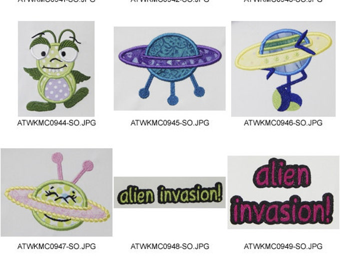Alien-Invasion-Applique. ( 10 Machine Embroidery Designs from ATW )