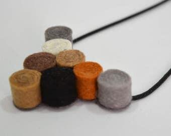 Handmade felt pendant necklace spirals brown gray white black