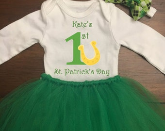CUSTOMIZABLE 1st St Patricks Day outfit girl, St Patricks Day tutu outfit, St Patricks Day Onesie, St Patricks Day baby dress