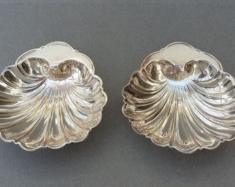 Pair Vintage Silver Plate Footed Scalloped Half Shell Dishes Nibbles Dishes