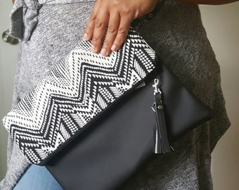 Black Clutch, White Clutch, Black Faux Leather Clutch, Black Wristlet, Black Handbag, Gifts for her, Gifts for Sister, Birthday Gift