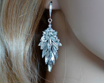 Vintage Inspired Crystal Rhinestone & CZ Shourouk Leaf Chandelier Dangle Earrings, Bridal, Wedding (Sparkle-1951)