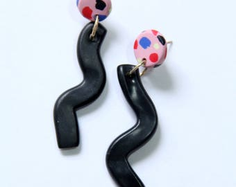 Polymer Clay Stud Earrings Squiggle Polymer Clay Black Pink Dotted