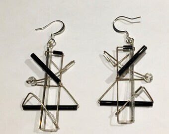 Modern forms architectural earrings in sterling silver settings (but they're vintage)