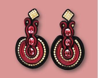 Earrings Crimson Soutache