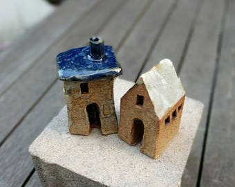 Terrarium decor, ceramic house, Garden decor, Small house, miniature house, tiny house, fairy garden, ceramic tower, Secret Garden, SET OF 2