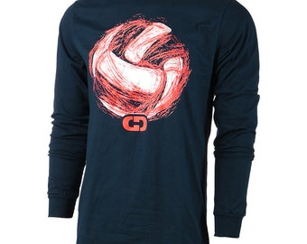 Volleyball Space Ball Long Sleeve Volleyball T-Shirt, Navy Blue, Volleyball Shirts - Free Shipping!