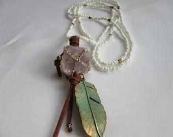 Necklace, leather cord, pendant, amulet, feathers, boho, gift Amethyst, semi precious stone