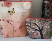 Butterfly Roses and Gold Flecks  Bag and Matching Notion Pouch