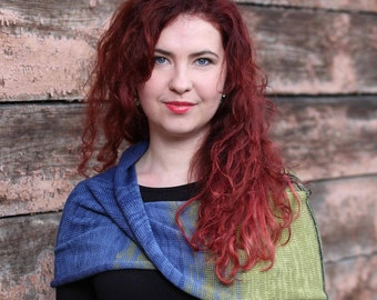 Knitted Infinity scarf, shoulder warmer, navy blue shawl, shoulder wrap, merino wool knit cowl, neckwarmer, circle scarf, navy evening wrap